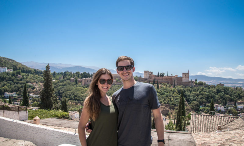 Us with the majestic Alhambra in the background.